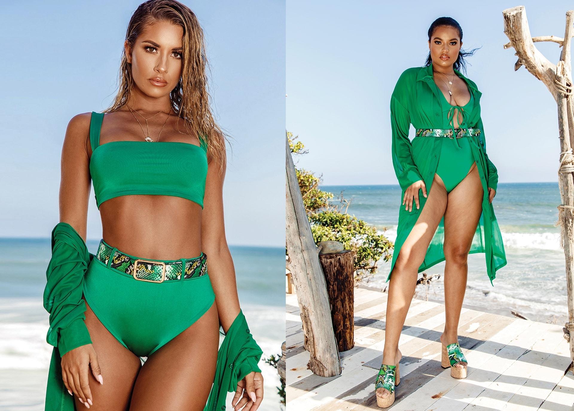 Green Bikini Top and Bottoms , Green Bathing Suit
