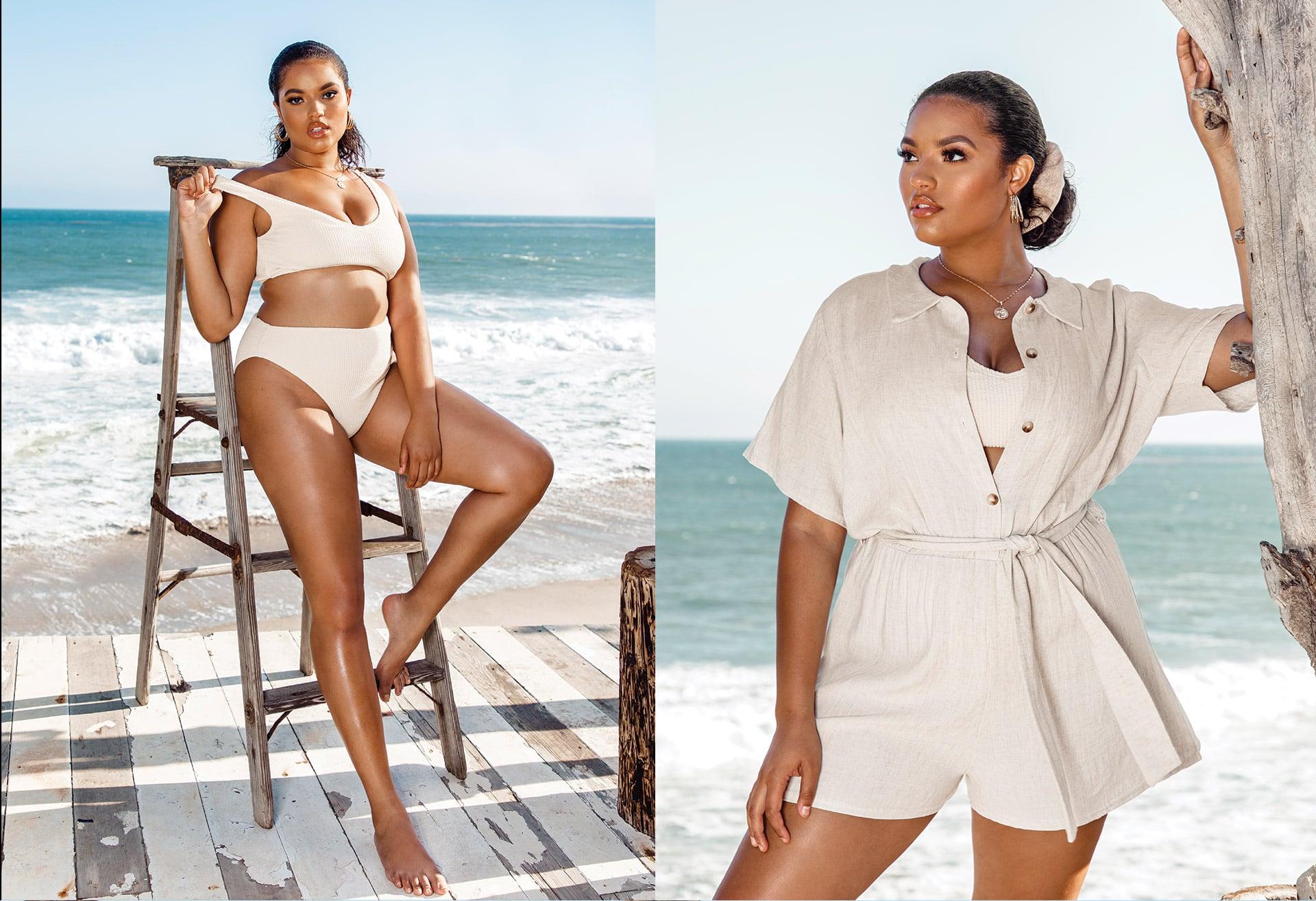 White Bikini Top and Bottom , Cream Playsuit