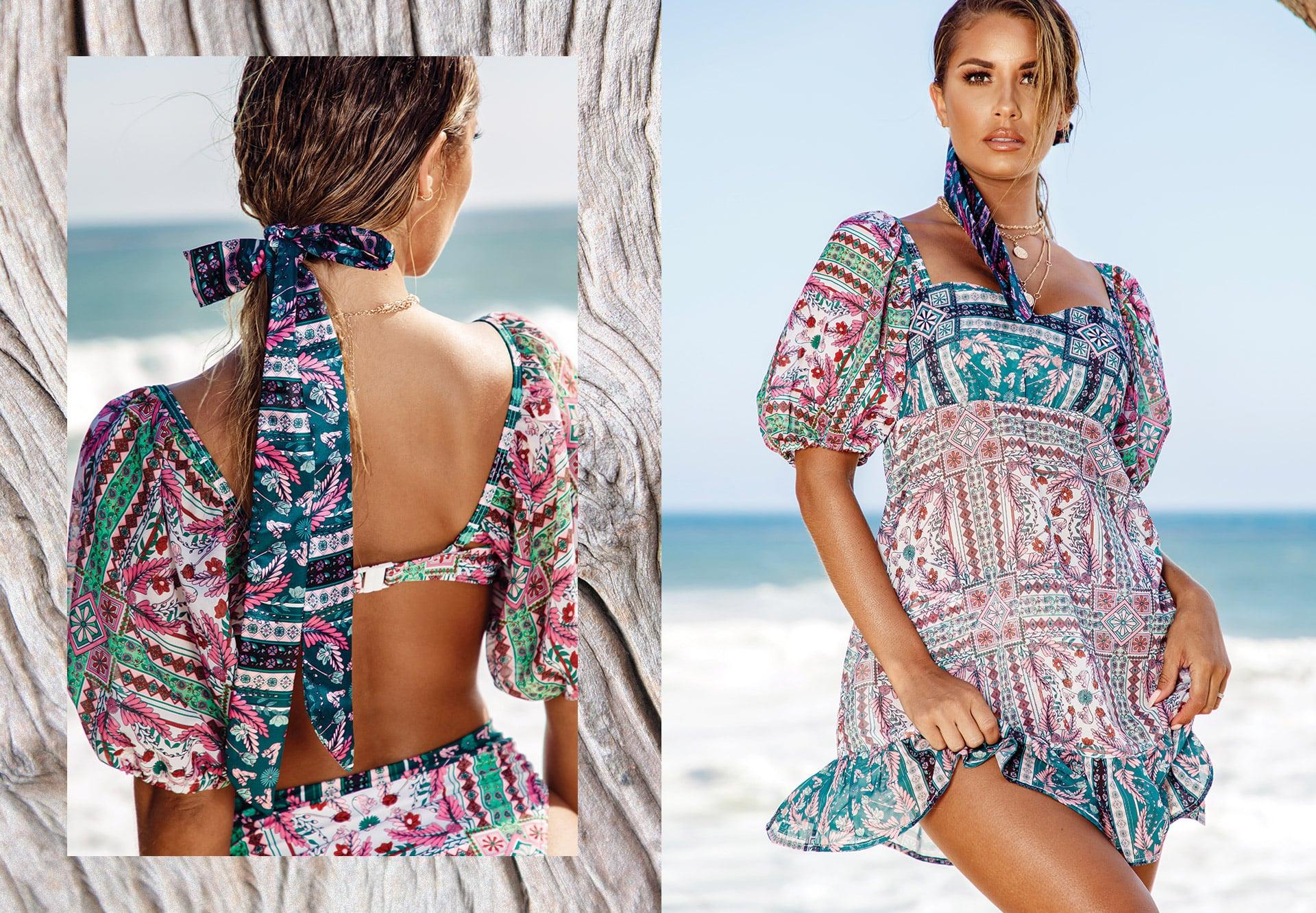 Mosaic Print Square Cut Dress