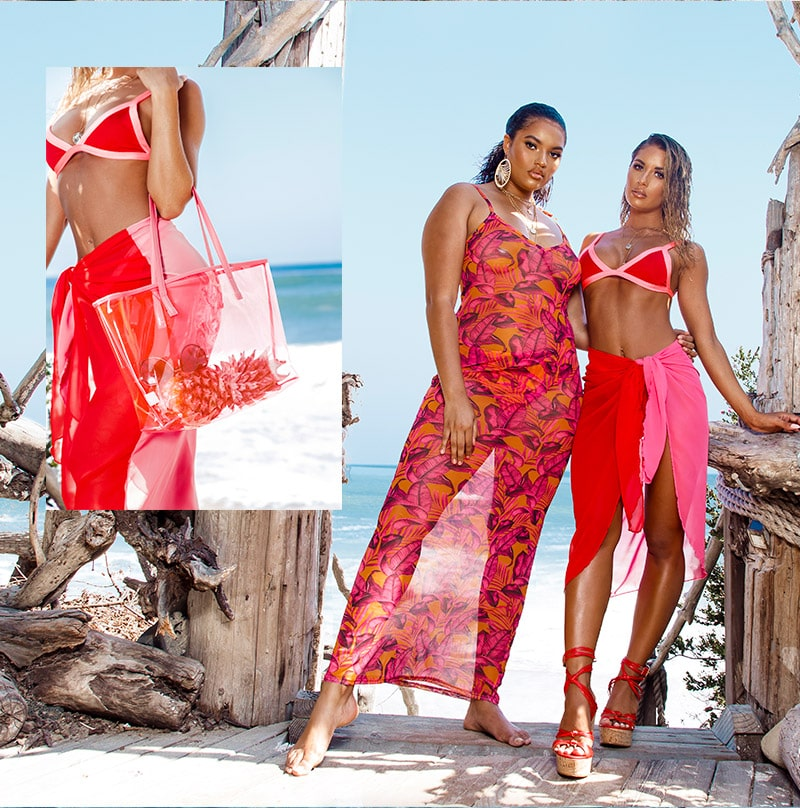 Pink Bikini Top and Bottoms , Flower Print Maxi