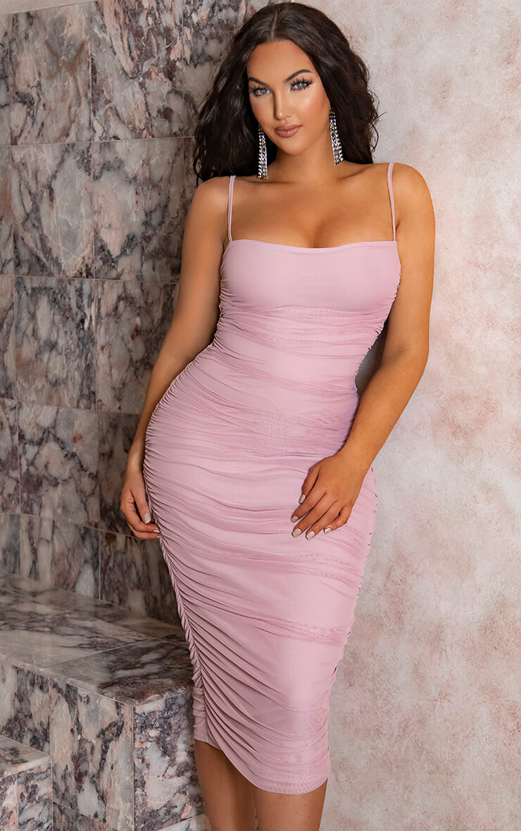 Dusty Lilac Strappy Mesh Ruched Midaxi Dress