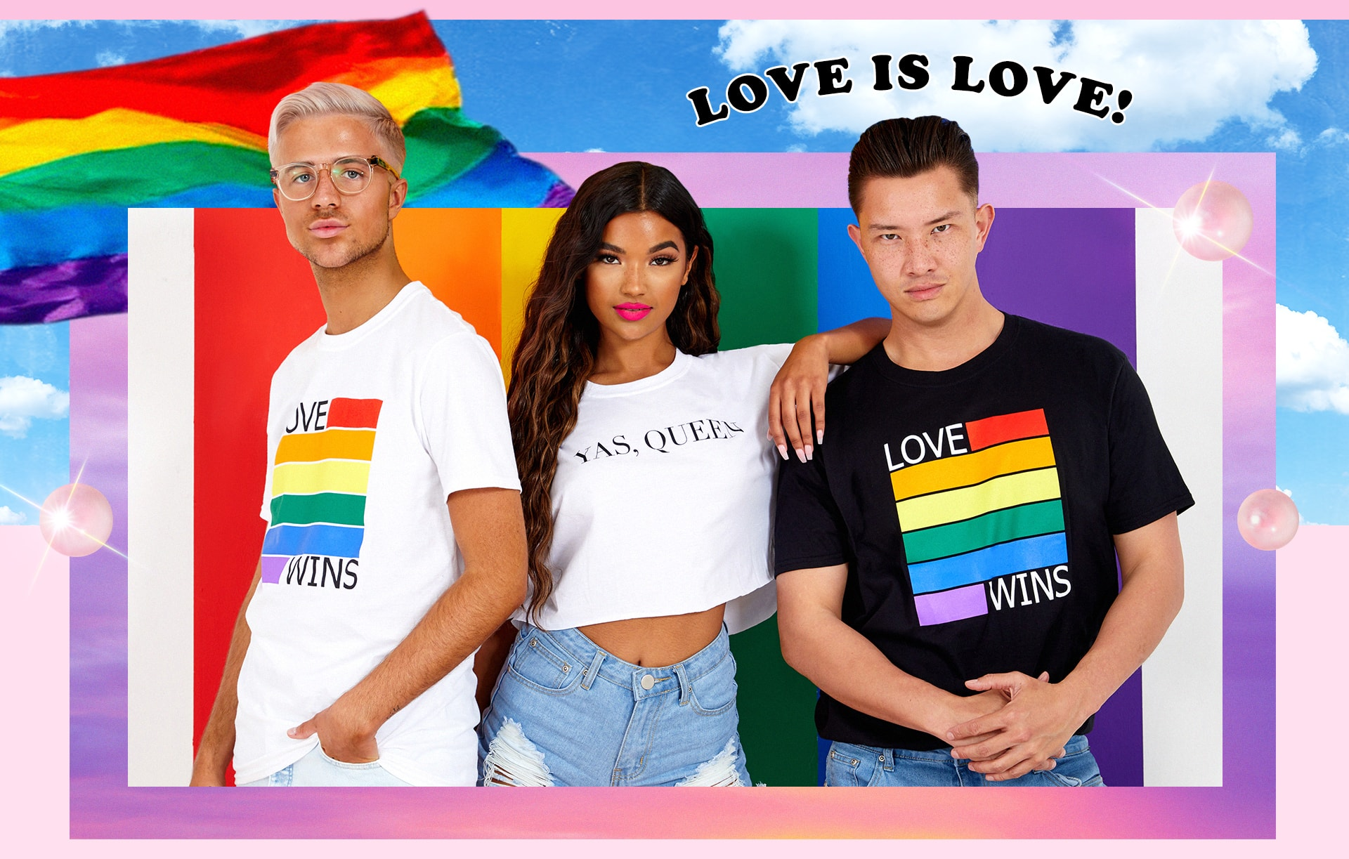 Love Wins White Tee , Love Wins Black Tee , Yas Queen White Tee