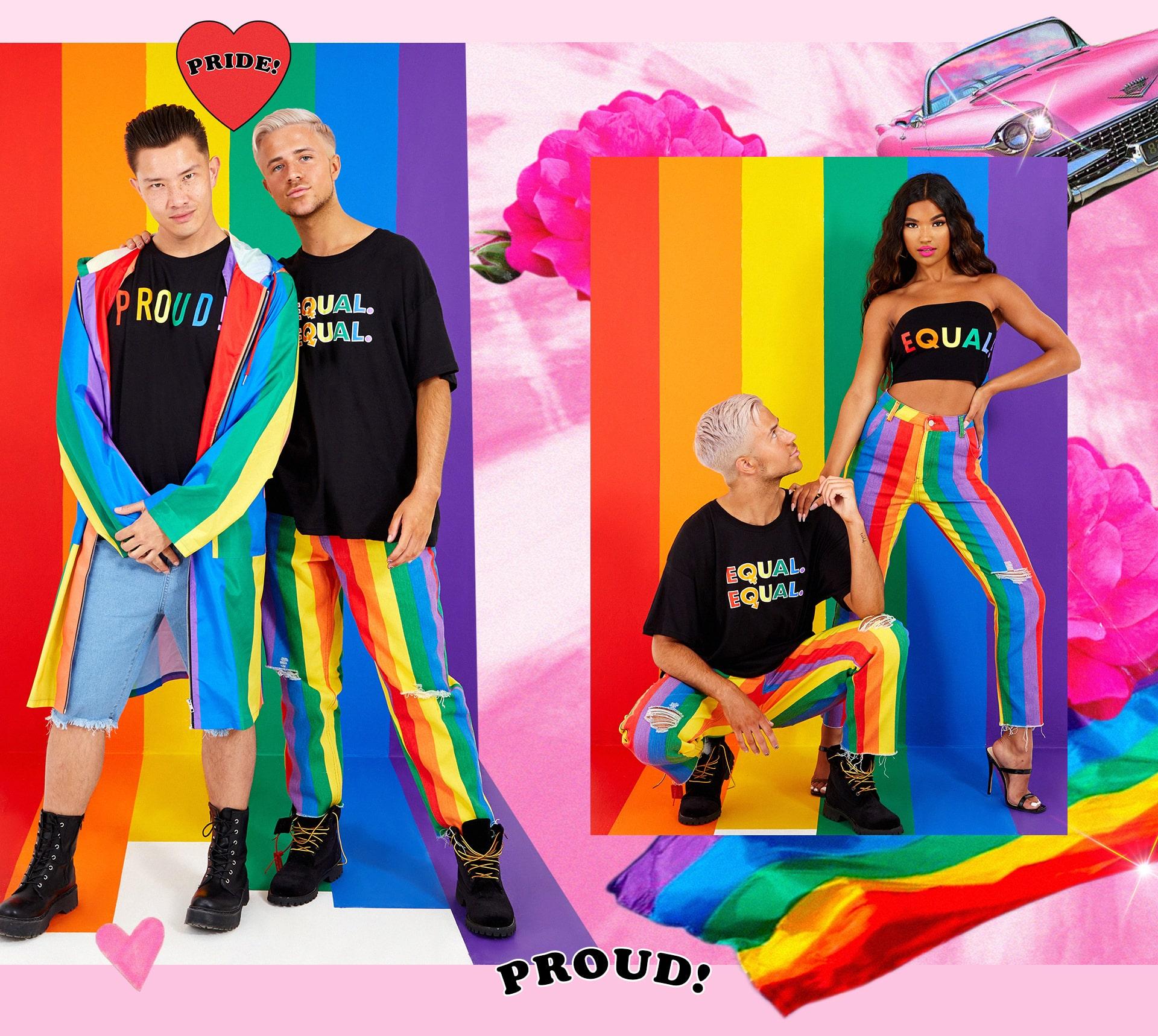 Stripe longline Mac , Proud Black Tee , Equal Black Tee , Equal Black Bandeau , Striped Wripped Jeans