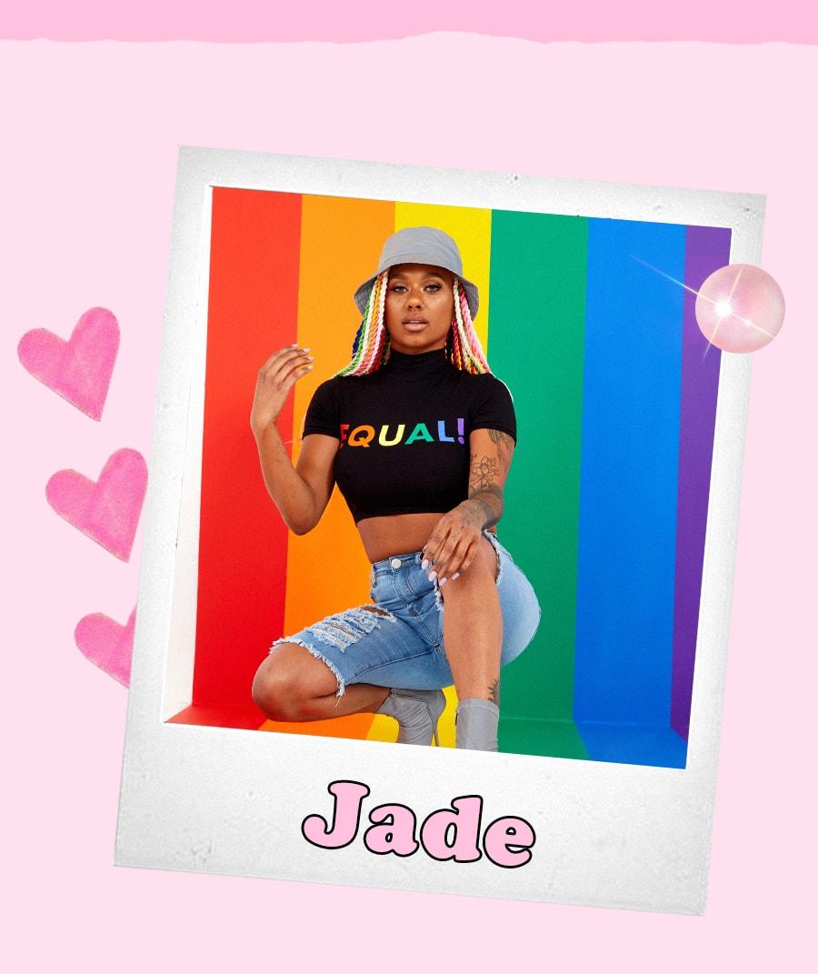 Jade Black Equal Cropped Tee