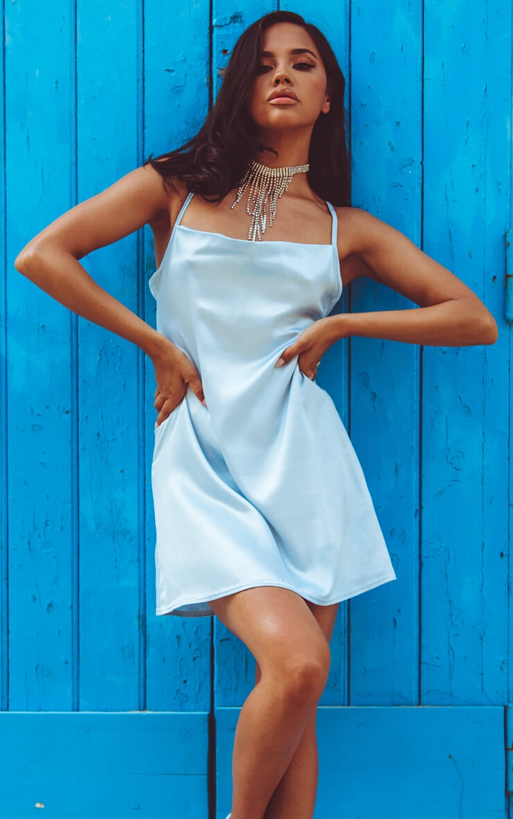 Baby Blue Satin Cowl Neck Shift Dress