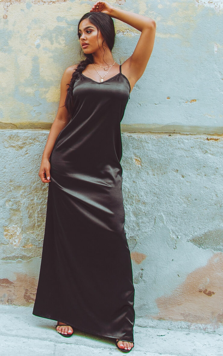 Black Satin V Neck Maxi Dress