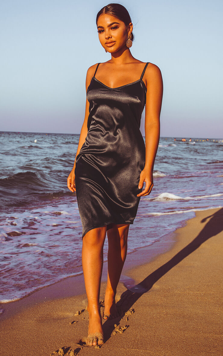 Black Satin V Neck Midi Dress
