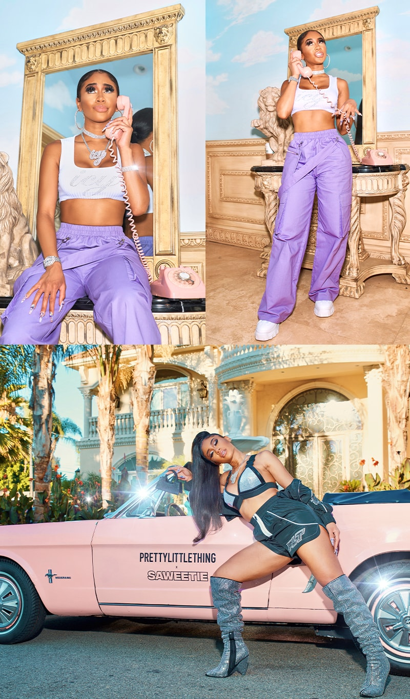 White crop top and purple cargo trousers Jeweled bralet and shorts