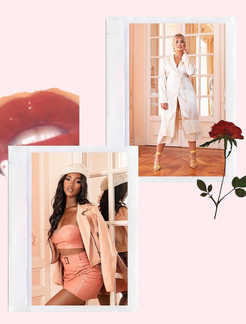 Cream Tassle Duster , Pink Crop Top and Skirt