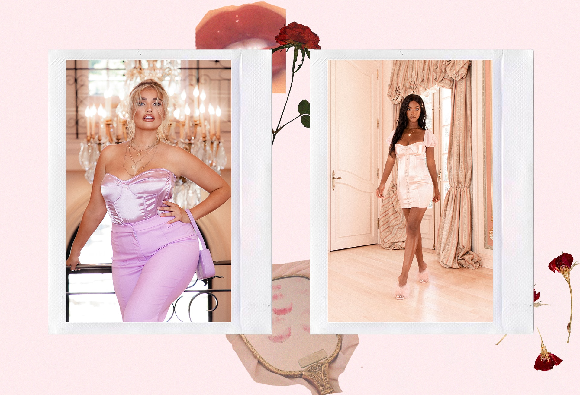Pink Satin Bodice , Pink Blazer , Pink Trousers , Pink Bodycon