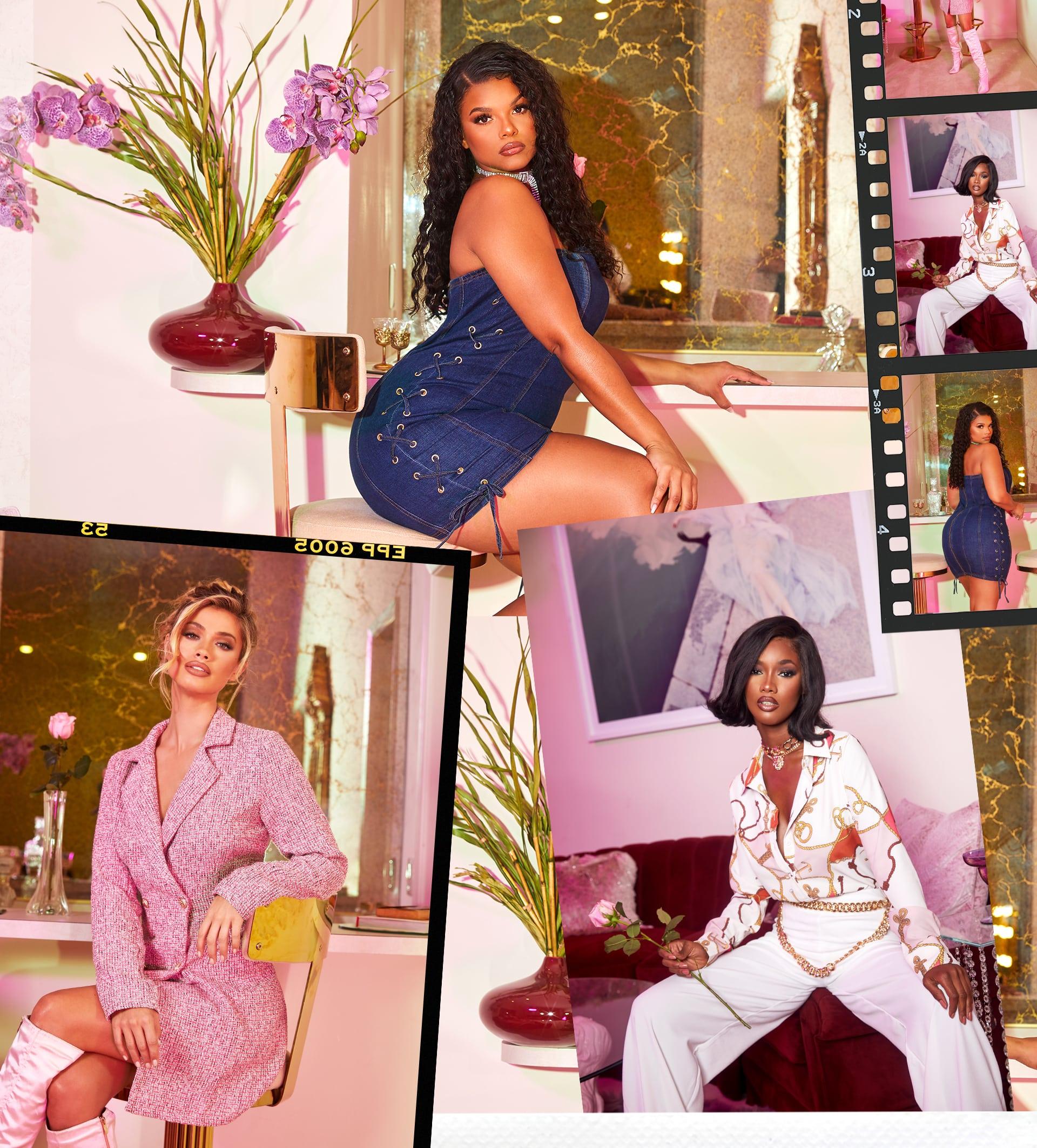 Denim Midi Dress , Pink Blazer Dress , White Print Shirt , White Trousers
