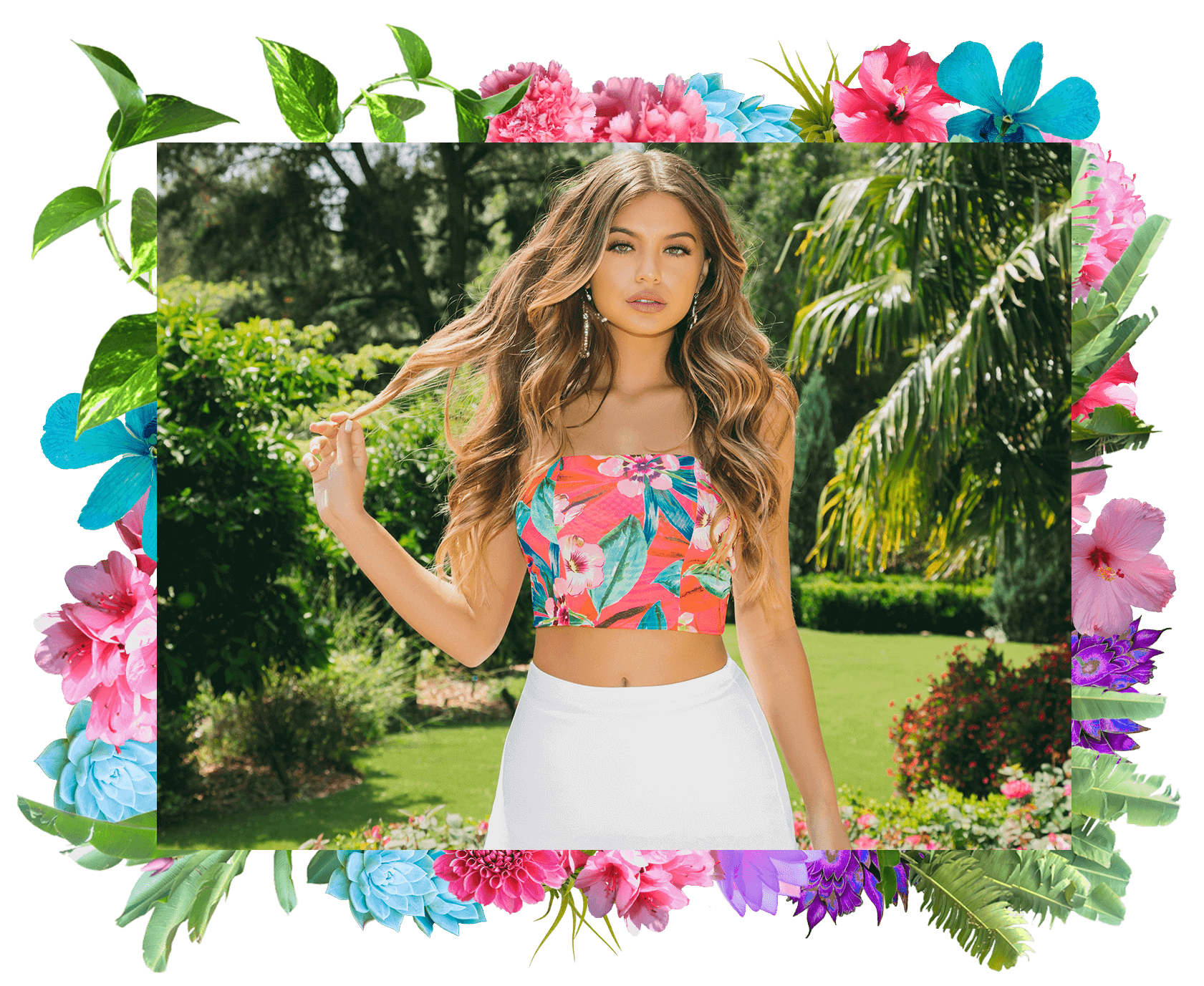 Hot Pink Tropical Print Bandeau Crop Top , White Tiered Split Maxi Skirt