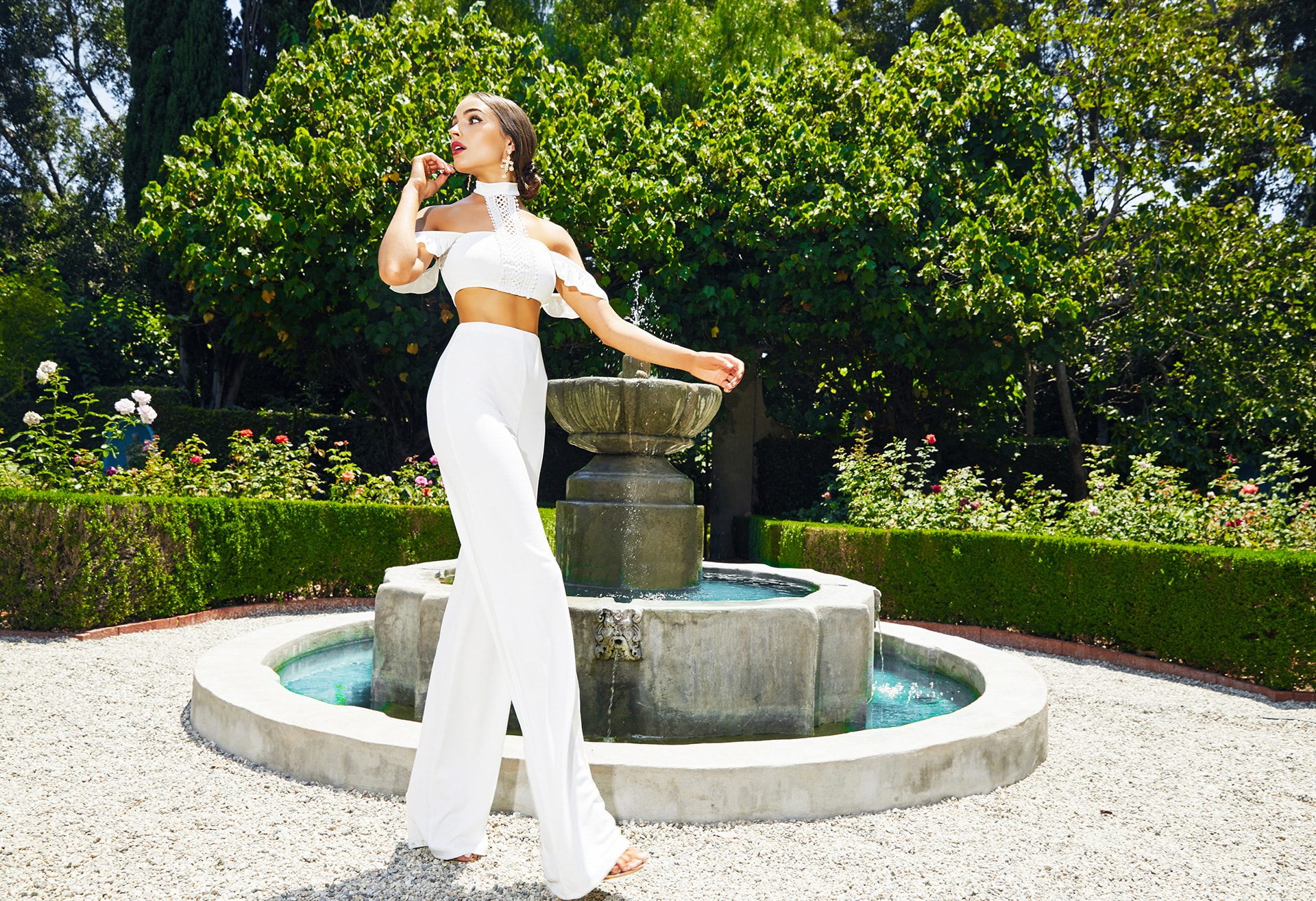 White Choker Frill Detail Crop Top , White High Waisted Wide Leg Trousers