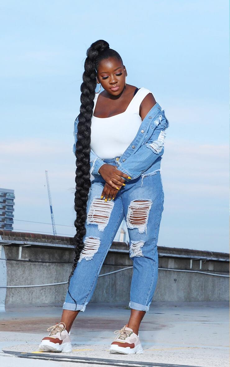 PLT Plus - Veste oversize en jean très délavé & déchiré