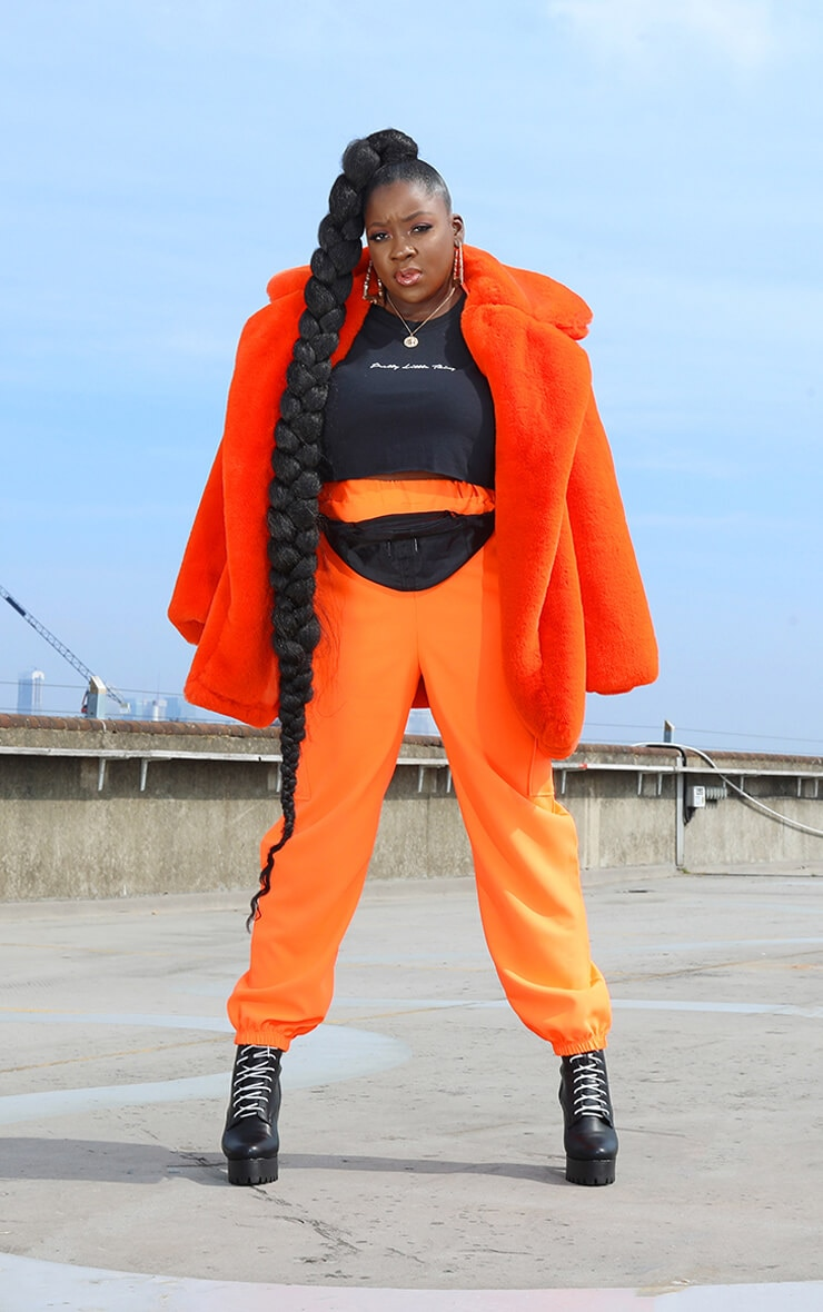 Plus Orange Faux Fur Oversized Collar Coat