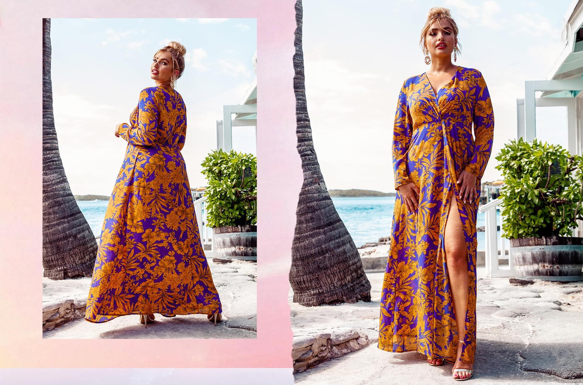 Plus Cobalt Tropical Print Twist Front Maxi Dress