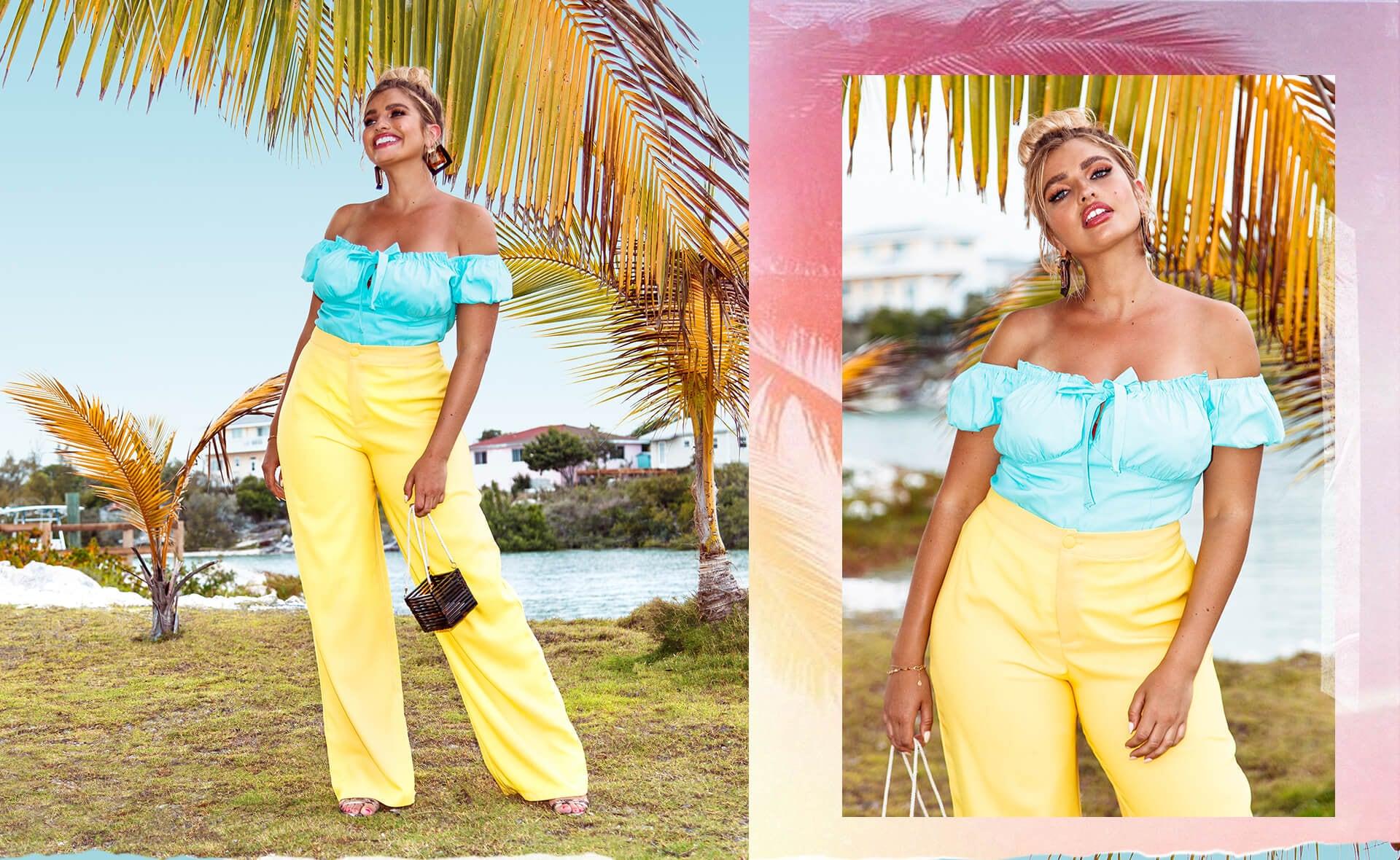 Plus Aqua Bardot Cup Detail Top, Plus Bright Yellow Button Detail Wide Leg Trouser