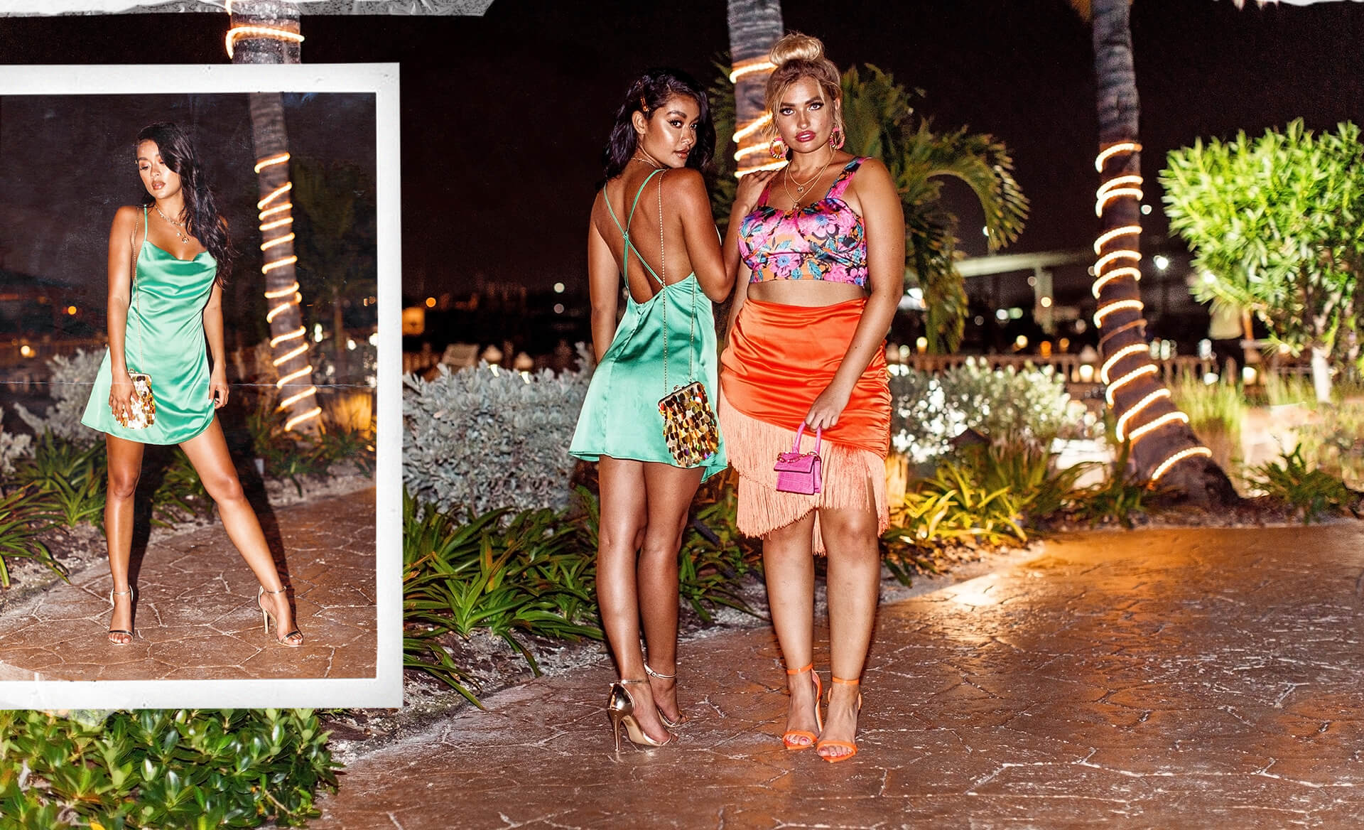 Green Satin Cowl Neck Shift Dress, Plus Orange Floral Cup Detail Crop Top, Plus Orange Satin Ruched Side Tassel Bodycon Skirt