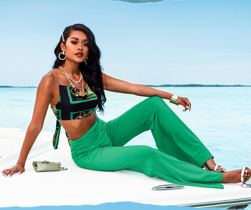 Green Printed Cowl Neck Tie Back Crop Top, Green Knot Front Flared Trousers