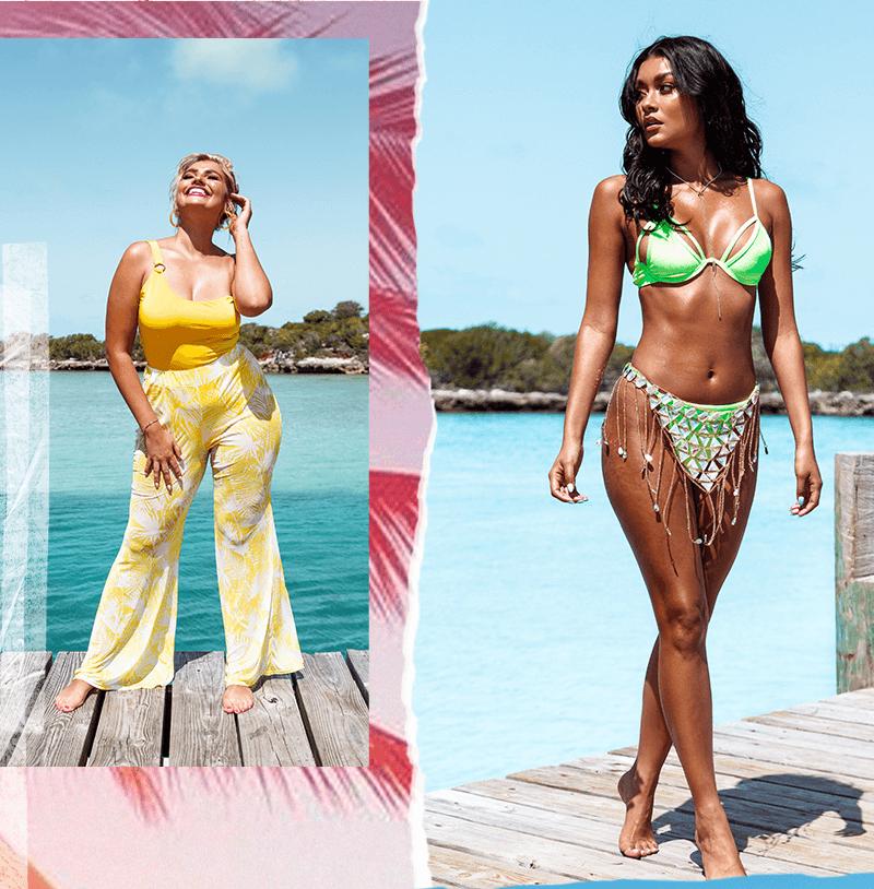 Neon Green Velvet Underwired Bikini Top, Neon Green Velvet High Leg Bikini Bottom, Bright Yellow Asymmetric Ring Detail Swimsuit, Bright Yellow Print Mesh Flare Trouser
