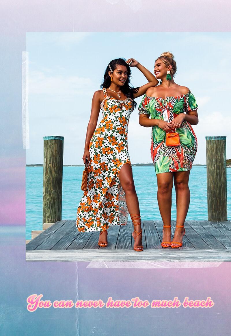 White Peach Print Ruched Frill Strap Maxi Dress, Plus Multi Leopard Palm Print Bardot Bodycon Dress