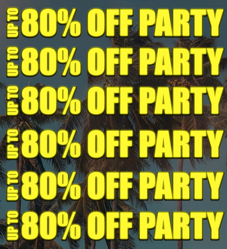 upto 80% off party