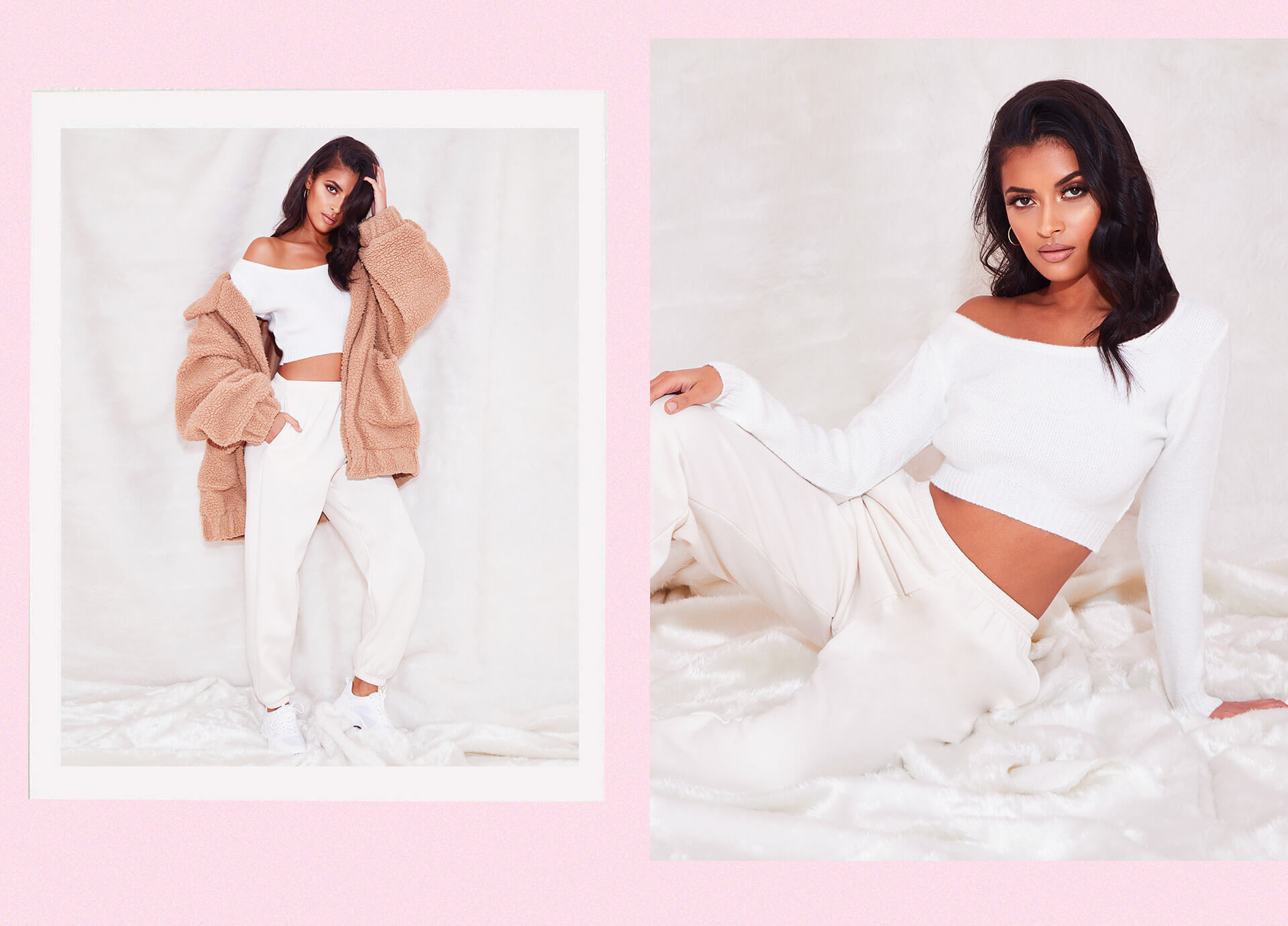 Cream V Neck Off Shoulder Knitted Cropped Sweater , Cream Casual Track Pants , Camel Oversized Borg Pocket Front Coat