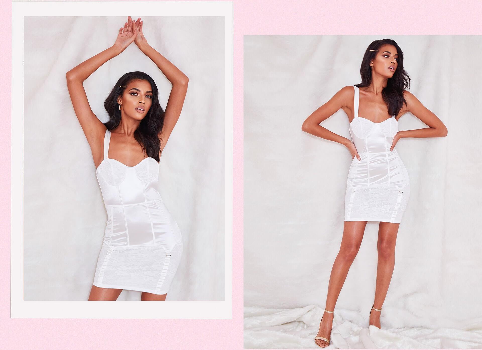 White Satin Lace Insert Suspender Detail Bodycon Dress