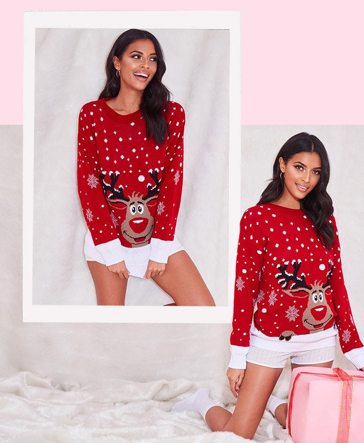 Red Reindeer Knitted Christmas Jumper