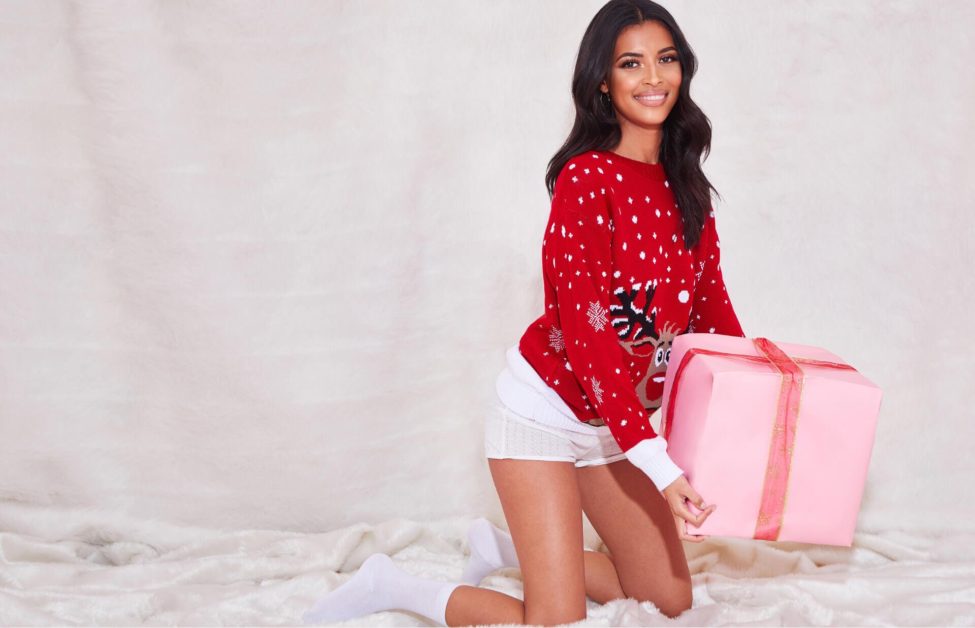 Background Header Red Reindeer Knitted Christmas Jumper