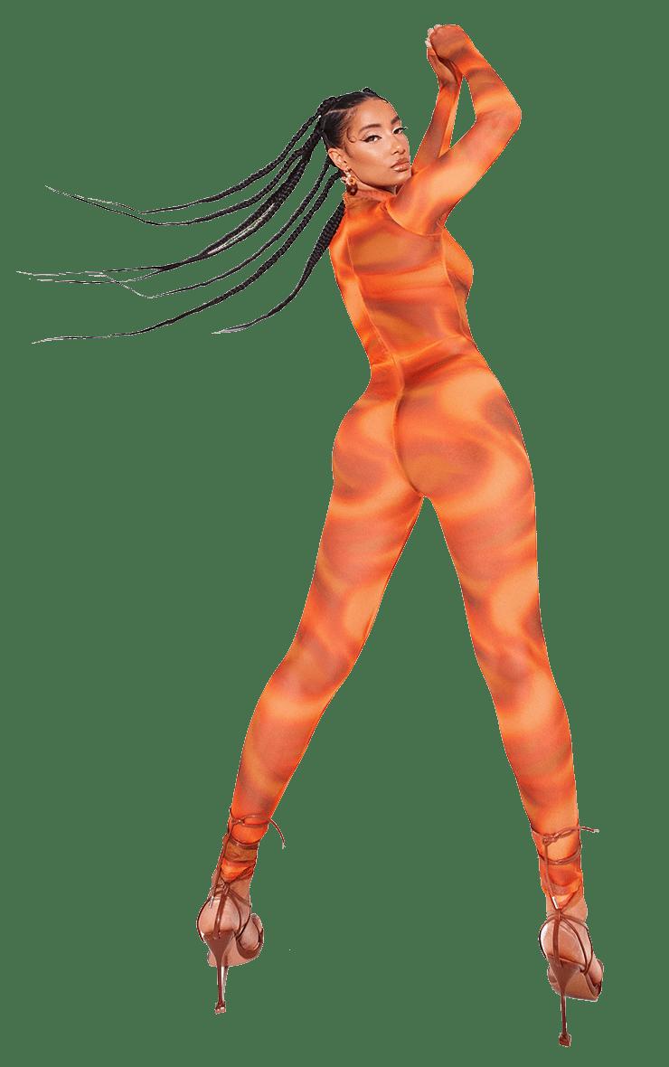 Orange Printed Mesh Jumpsuit