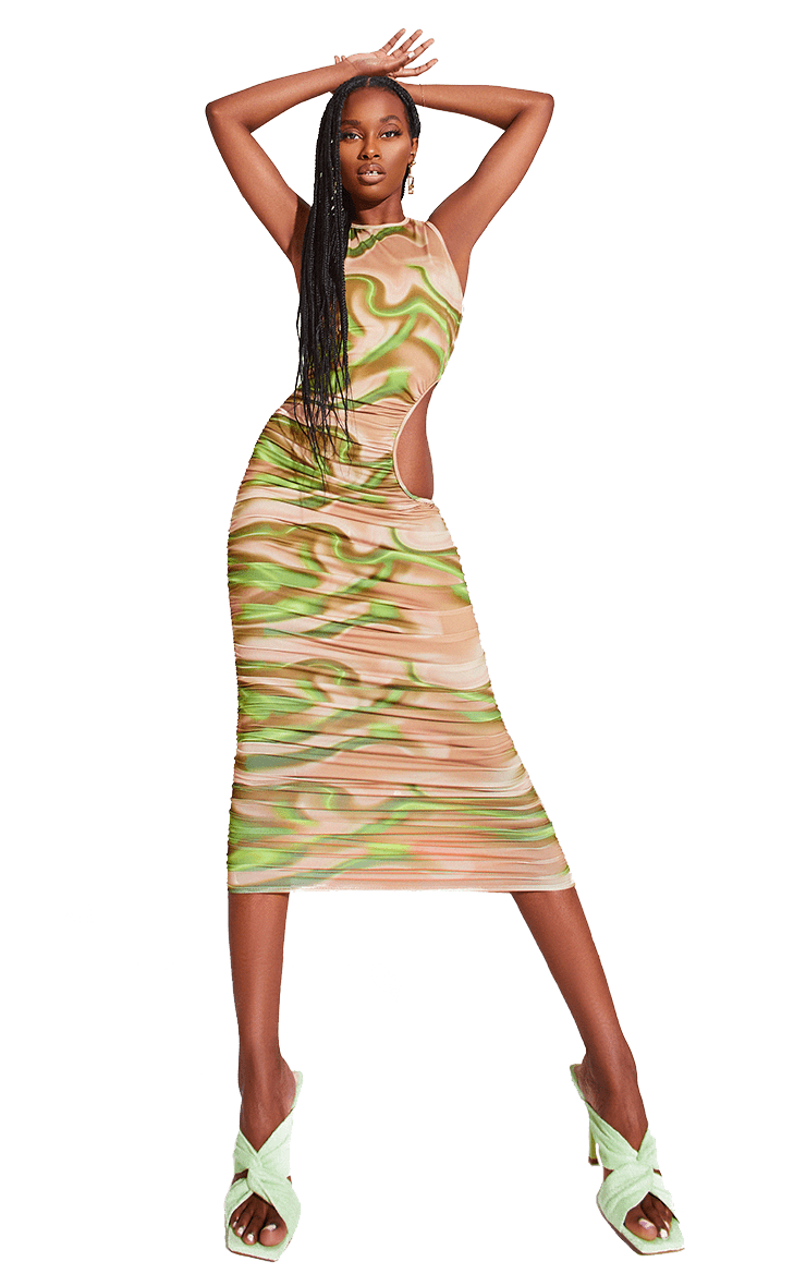 Green Printed Ruched Cut Out Midi Dress