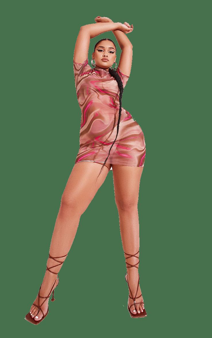 Plus Pink Printed Mesh Overlocked Bodycon Dress