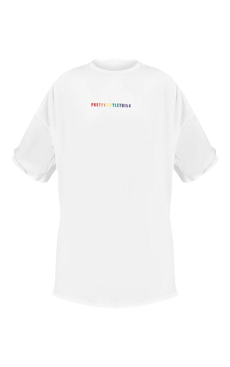 PRETTYLITTLETHING White Pride T Shirt Dress