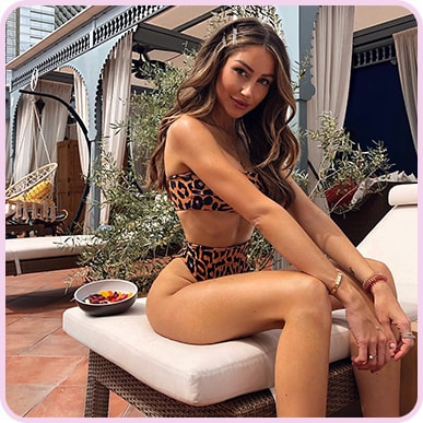 @caro_e_ Orange Cheetah Print Bandeau Bikini Top