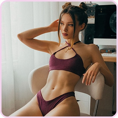 @_missbo Plum Crinkle Scoop Neck Bikini Top