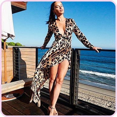 @adrianalima Leopard Asymmetric Hem Long Sleeve Plunge Satin Maxi Dress