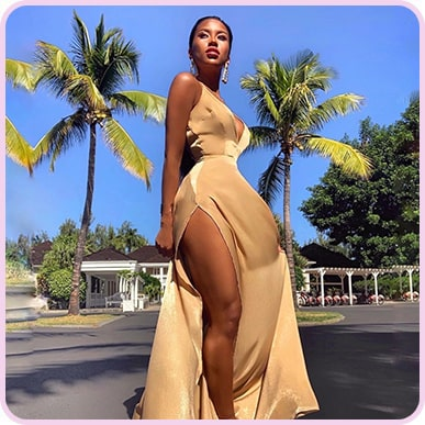 @loan_love_ Nude Extreme Split Strappy Back Maxi Dress