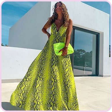 @romydfonseca Yellow Snake Print Extreme Split Strappy Back Maxi Dress