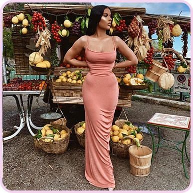 @amrezy Blush Textured Slinky Cowl Ruched Maxi Dress
