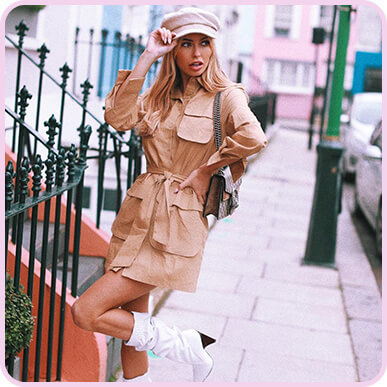 @amynevfashiondiaries Camel Utility Tie Waist Shirt Dress
