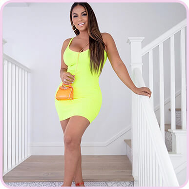 @missdollycastro Neon Yellow Strappy Ribbed Knit Dress