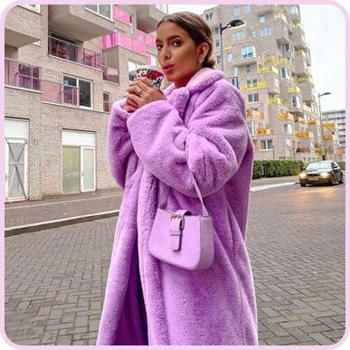@romydfonseca Lilac Maxi Faux Fur Coat