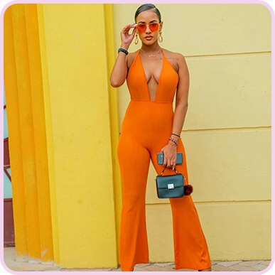 @tanashadonna Orange Bandage Plunge Flared Leg Jumpsuit