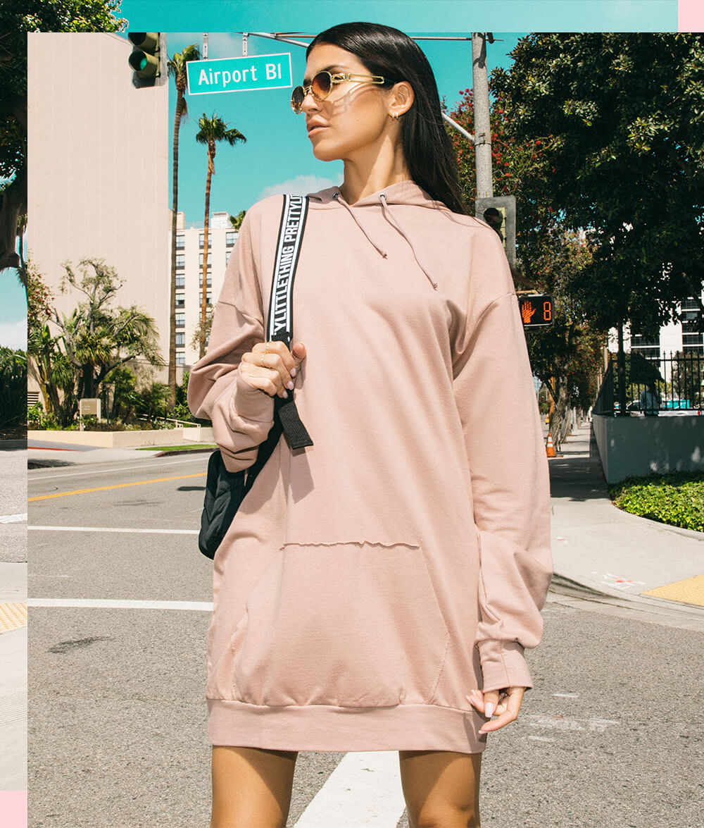 Sand Oversized Hoodie Dress