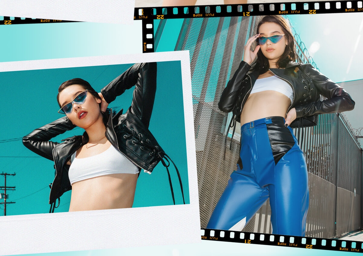 Amanda Steele Shoot 2 White Crop Top & Blue Leather Trousers Mobile