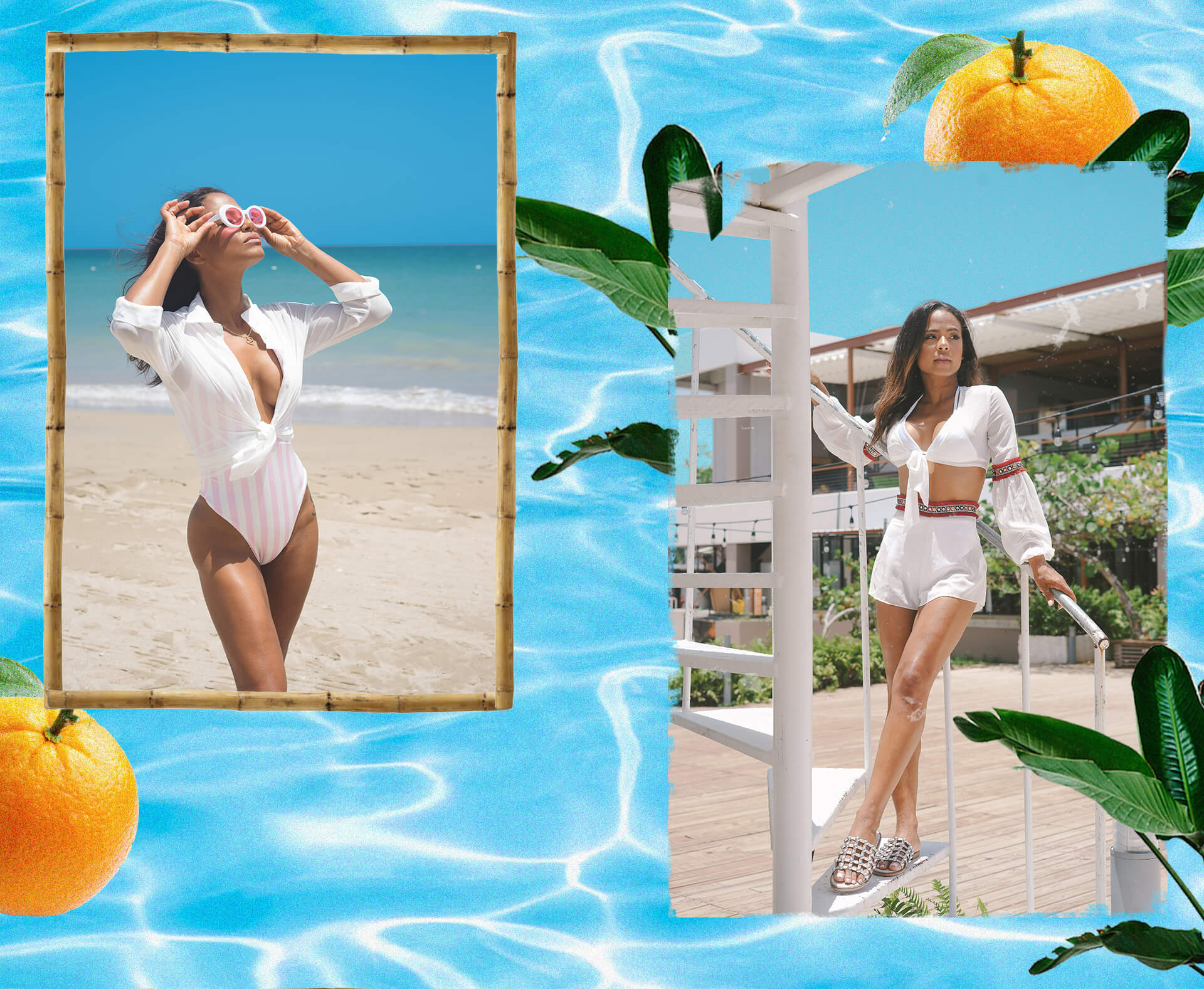 Christina Milian Shoot 1 Pink Stripe Swimsuit & White Mirror Crop Top & White Mirror Shorts Desktop