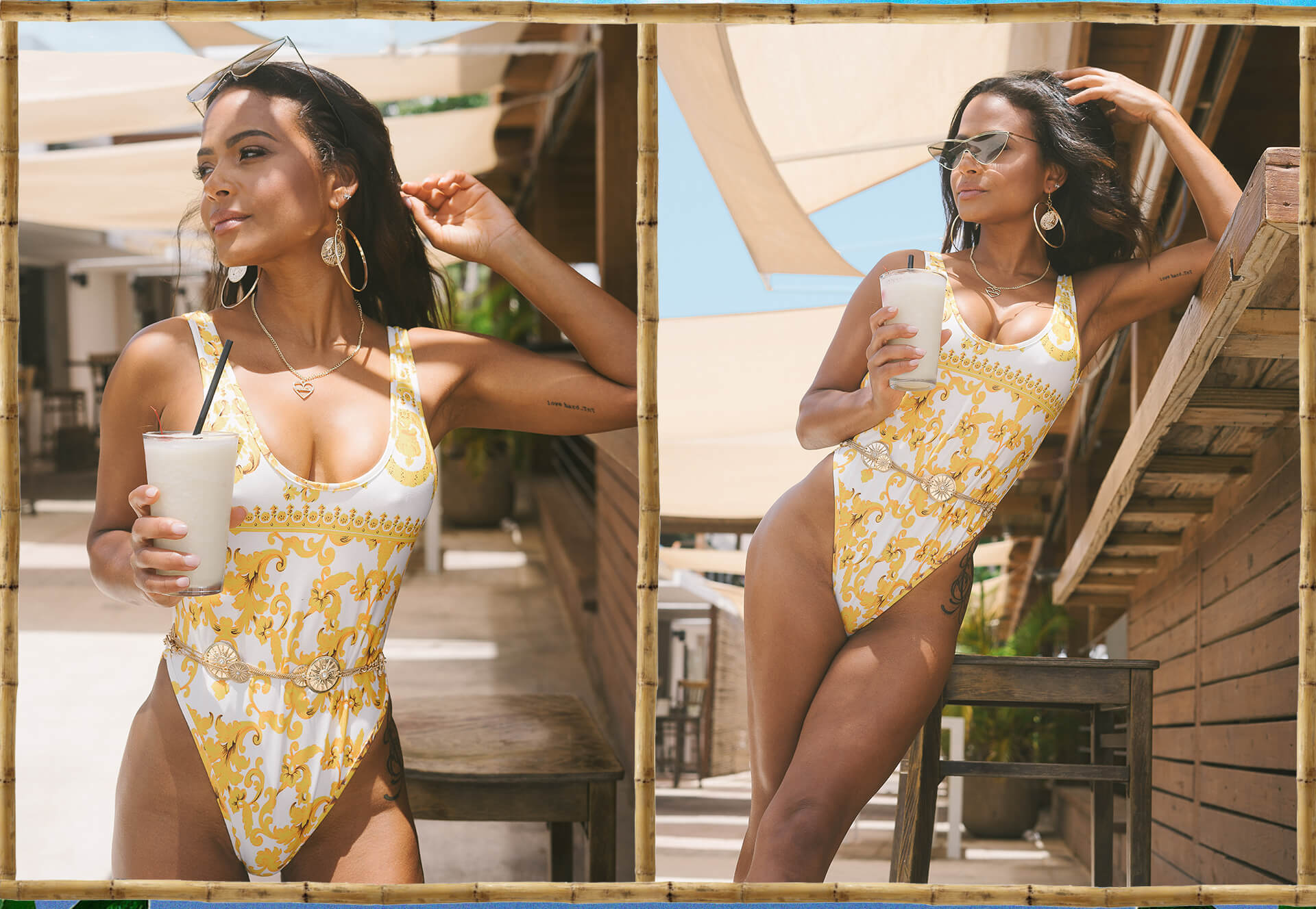 Christina Milian Shoot 2 White Chain Print Swimsuit Desktop