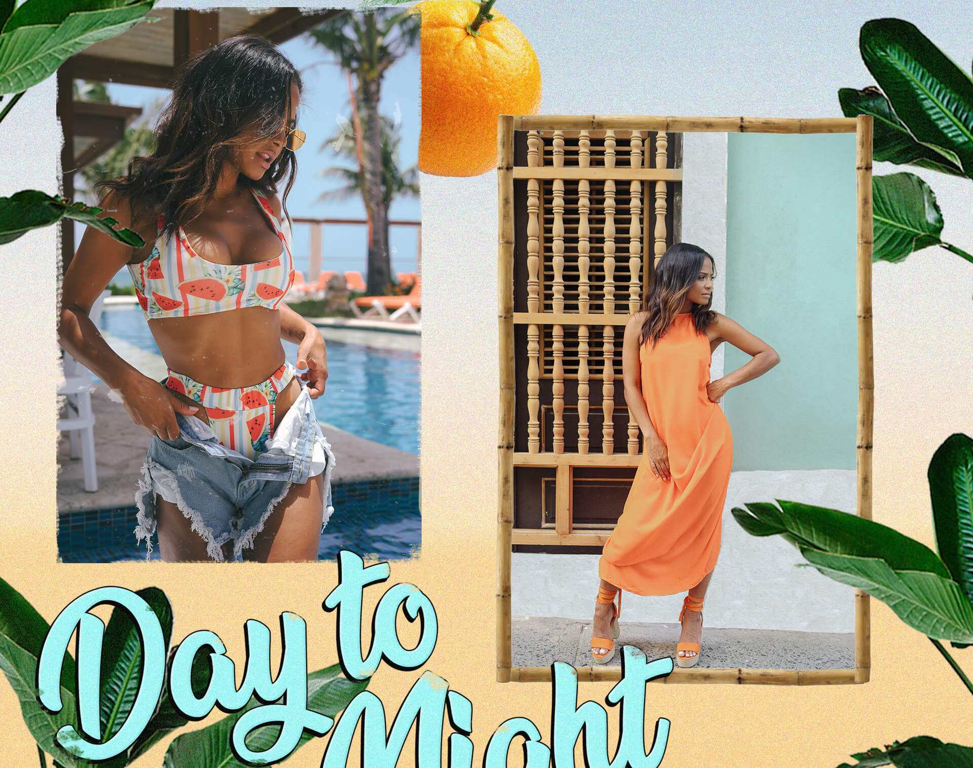 Christina Milian Shoot 4  White Watermelon Bikini Top, Watermelon Bikini Bottom & Orange Maxi Dress Desktop