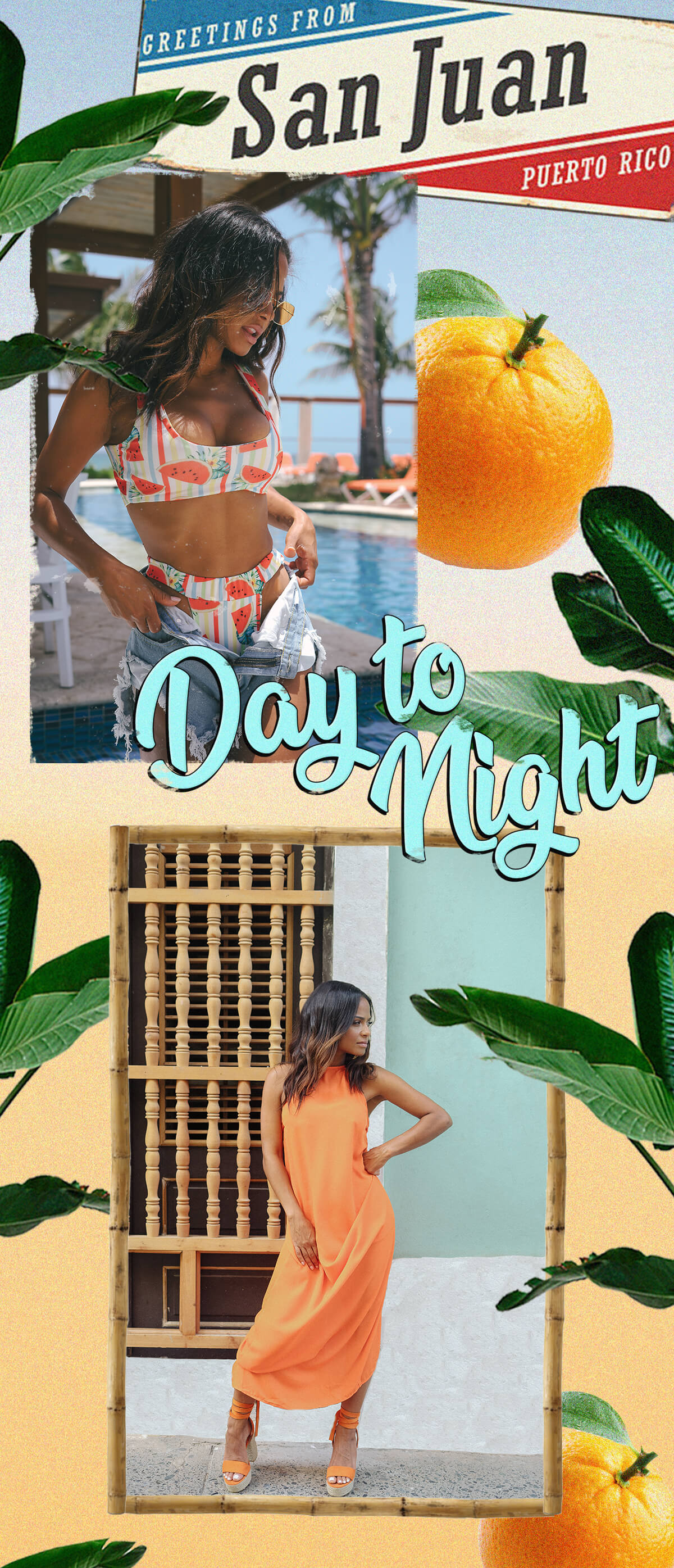 Christina Milian Shoot 6 White Watermelon Bikini Top, Watermelon Bikini Bottom & Orange Maxi Dress Mobile